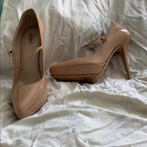 Yves Saint Laurent Mary Jane Platform Pumps Nude